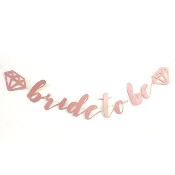 Bride to Be letter banner - Pink with diamond