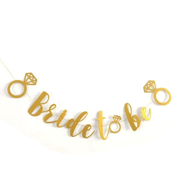 Bride to Be letter banner - Gold with ring