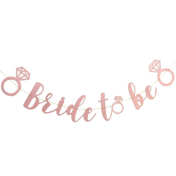 Bride to Be letter banner - Pink with ring